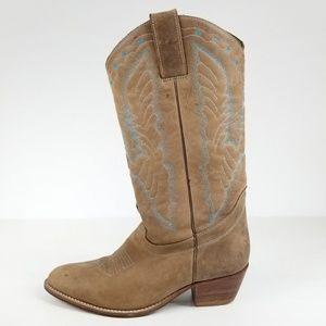 Dingo Leather Women's Cowboy Boots Tan Blue Stitch